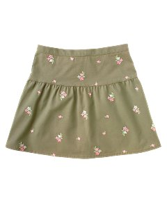 Kid Girl Embroidered Floral Skirt