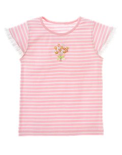 Striped Sequined Flower Tee