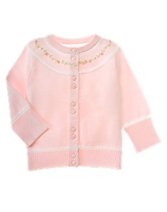 Baby Girl Pointelle Posy Cardigan Sweater