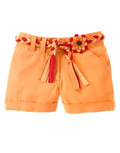 Belted Woven Cuffed Short
