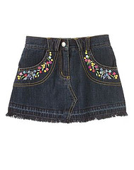 Sequin Flower Denim Skort