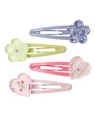 Heart and Flower Clip Four-Pack