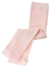 Barely Pink Lace Cuff Footless Tight KG
