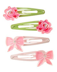 Rose and Bow Snap Clip Four-Pack