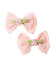 Ribbon Rosette Bow Clip Two-Pack