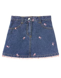 Embroidered Ballet Shoe Denim Skirt