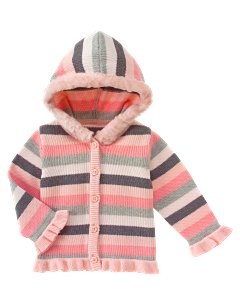 Stripe Fur Trim Hooded Sweater