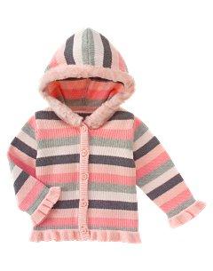 Stripe Fur Trim Hooded Sweater