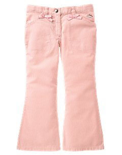 Bow Trim Flare Corduroy Pant